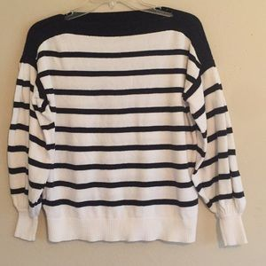 """Loft"" Beautiful White With Black Stripes Sweater"
